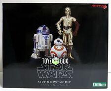 "In STOCK Kotobukiya Star Wars ""R2-D2 + C-3PO + BB-8"" TFA Artfx+ Statue"