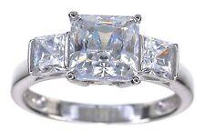 14KT White Gold Princess cut CZ Diamonique 2.55 Ct tw 3 Stone Ring Size 5