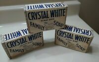 3 VINTAGE Crystal White GIANT SIZE Family SOAP bars COLGATE - PALMOLIVE -
