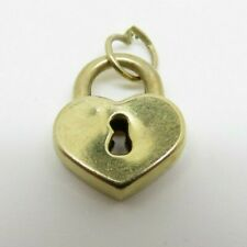 Vintage 9ct Gold Heart Shaped Padlock Charm / Pendant From Old Charm Bracelet