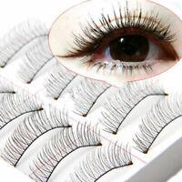 10Pairs Soft Natural Cross Handmade Eye Lashes Makeup Extension O8K9 False O6B3