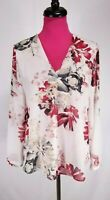WHBM Blouse Size 8 Womens Red Off White Floral Textured V-Neck Sheer Long Sleeve