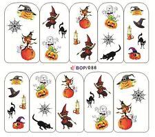 Nail Art Sticker Water Decals Transfers Halloween Pumpkin Witch Candle (BOP086)