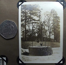 Vintage 1920s photograph Well with two buckets Ornamental wrought iron-work