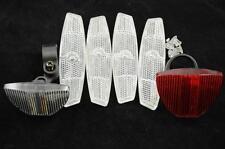 FULL BIKE REFLECTOR SET FRONT,REAR, BRACKETS FOUR WHEEL REFLECTORS SAFETY