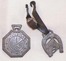 Vintage Toy Pocket Watch & Fob To Sheriff Set Pot Metal Vinyl Strap Cracked