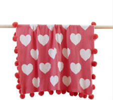Linens n Things Watermelon Pink Hearts White Baby Girl Throw Blanket Pom Pom Rug