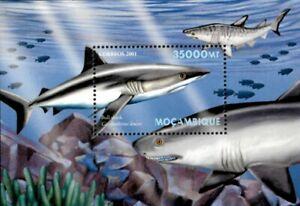 Mozambique 2001 - Predators of the Deep Sharks - Souvenir Sheet - Sc 1415 - MNH