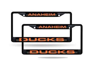 Anaheim Ducks NHL Black Metal (Set of 2) Laser Cut License Plate Frames