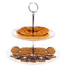 2 Tier Glass Decorative Cupcake Pastry Pie Wedding cake Stand Platform Plate NEW