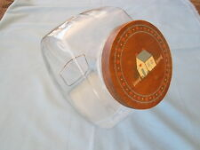 Large Glass Slant Cookie Jar with Wood Handpainted Lid - Vintage Pre-owned