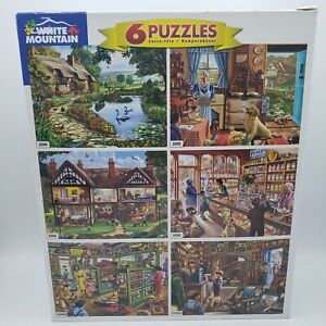 White Mountain Lot Of 6 Puzzles in 1 Box 2ea 300 500 1000 Piece