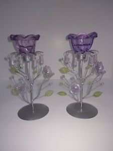 Purple Flower Table Top Candle Candlestick Holder