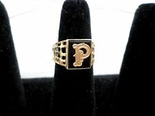 """P"" alphabet Ring, on Onyx base, a solid 14k gold band"