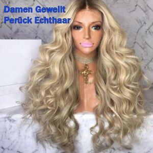 65cm Women Lace Wavy Curly wig Blonde Women's Long Synthetic Hair Wavy Wigs