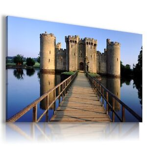 ENGLAND BODIAM CASTLE View Canvas Wall Art Picture Large SIZES  L97  MATAGA .