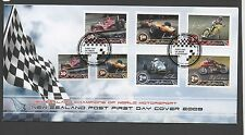 New Zealand 2009 FDC Champions of World Motorsport set stamps