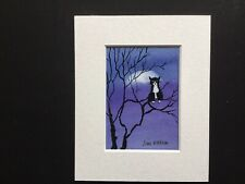 aceo original watercolour painting By Toni Cat Sat In The Moonlight