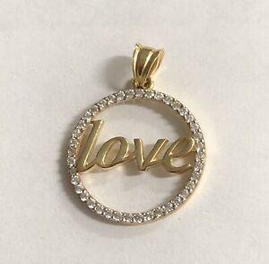 14K Yellow Gold Love Round Pendant - Cz Women Men Italy