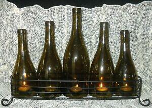 Glass WINE BOTTLE CANDELABRA Green BLACK METAL STAND Bar Tealight Candle Holder