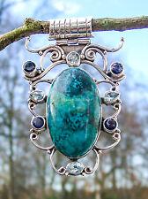 CHRYSOCOLL + Topas Iolith massiv 925 Silber XXL Custom Amulett blau 66x44 mm /7