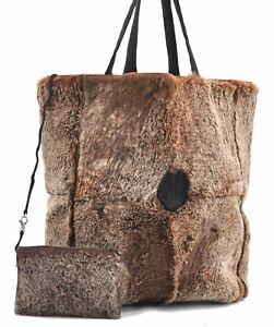 Authentic Chanel Rubbit Fur Shoulder Tote Bag Suede Brown CC Logo D5649
