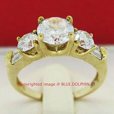 Genuine Solid 9ct Yellow Gold Engagement Wedding Esteem Rings Simulated Diamonds