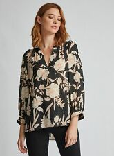 Dorothy Perkins Womens Tall Black Floral Puff Sleeve Blouse Long Sleeve Top