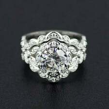 .925 Silver 1.5ct Round CZ Bridal Engagement Ring Set
