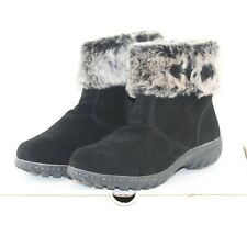 SPORTO BALLAD womens zip up winter boots shoe size 10 W black suede faux fur NEW