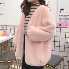 Women Faux Fur Cardigan Coat Warm Fluffy Jacket Loose Fleece Outwear Winter