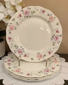 Gracie Bone China Floral Spring / Easter DINNER Plates (Set of 4)