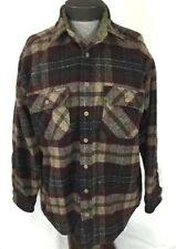 Woolrich Plaid Wool Shirt Coat Burgundy Button Down Mens Size L