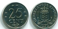 1979 NETHERLANDS ANTILLES 25 CENTS Nickel Colonial Coin #S11651U