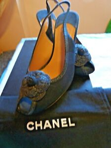 Chanel Black Canvas Camellia Slingback Heels Sandals