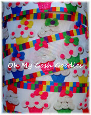 1.5 CANDYLAND CUPCAKES PARTY STRIPE GROSGRAIN RIBBON 4 HAIRBOW BOW
