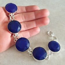GENUINE 115.45 CTS EARTH MINED RICH BLUE SAPPHIRE OVAL CARVED BEADS BRACELET