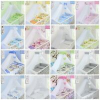 BABY NURSERY CANOPY DRAPE MOSQUITO NET WITH RIBBON HOLDER TO FIT COT