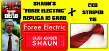 Shaun of the Dead Red Striped Tie & Foree Electric PVC ID Card Halloween Costume