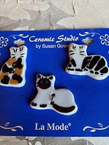 Ceramic Studio Buttons By Susan Gowen Ceramic 3 Asst. Cats 2 Hole Beautiful
