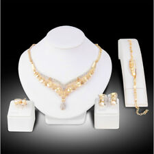Sexy Austrian Rhinestone Necklace Earrings Ring Bracelet 4Pc Set Bridal Prom N58