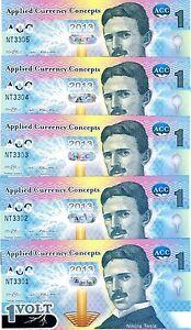LOT ACC 5 x 1 Volt, 2013, Promotional / Advertising Polymer, UNC > Nikola Tesla