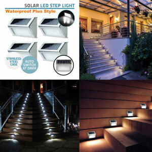 3 LED Brand new stainless steel Solar Power garden yard Fence stair step Lights
