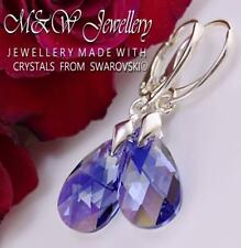 925 STERLING SILVER EARRINGS 16MM PEAR TANZANITE AB CRYSTALS FROM SWAROVSKI®