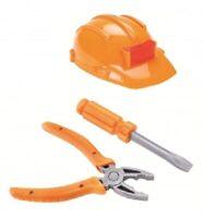 3 teilig SET Bauarbeiter Helm Werkzeug Spielset  für Kostüm Kinder bauhelm