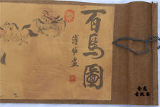"Chinese Ancient picture silk paper ""100 horse "" Scroll painting 百马图"