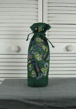 Wine Bottle Gift Bag Wrapper - Green  Jute w/ Abstract Art Blue Fish Red Moon
