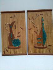 VTG Pair of Aqua Gravel Pebble art  with wood accents Mid Century 60's decor