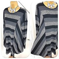 Eden Rock Top Long Sleeves Lagenlook Stretch Striped Grey & Black Size UK 18