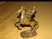 """VINTAGE 7 1/2"""" HIGH BRASS METAL HORSE & RIDER"""